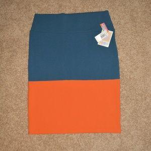 NWT LuLaRoe Cassie XL Blue Orange Block Skirt